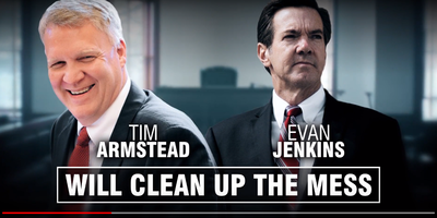 A screen capture from the RSLC ad about the state Supreme Court race.