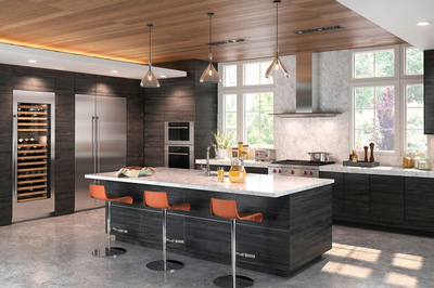 Flush-mounted appliances combined with modern cabinets give a kitchen an open, clean look.