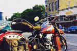 In addition to classic cars, a fair number of motorcycles join in on the monthly Pistons on the Square meet-up in Georgetown.