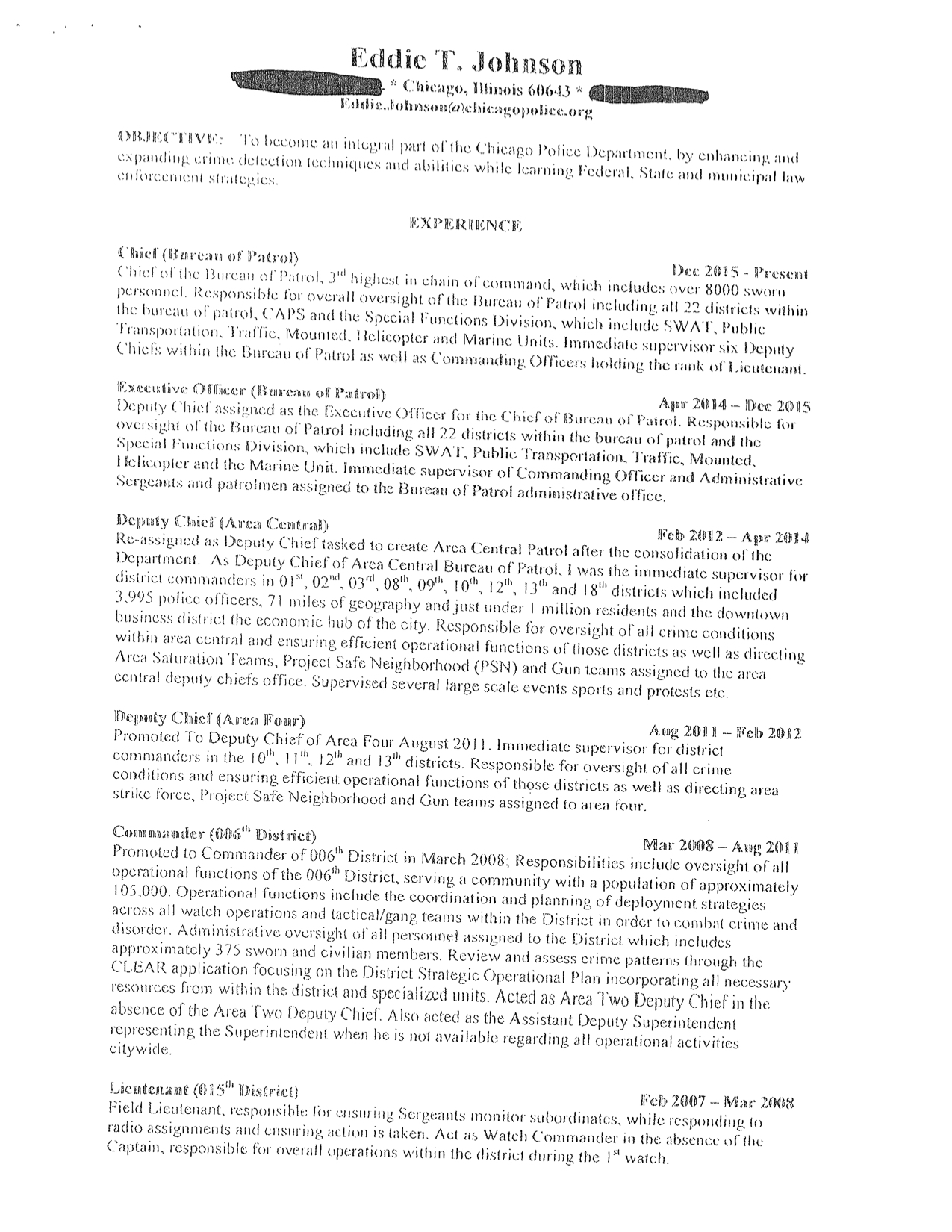 read the resume of chicago police chief eddie johnson chicago city wire - Law Enforcement Resume