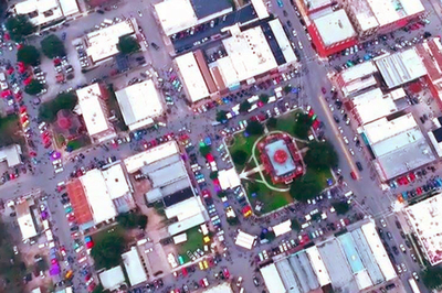 This aerial view of Lockhart shows the downtown area flooded with classic cars during the annual Hot Rods and Hatters event. This year 30 city blocks were closed down to make room for the event, which still pushed capacity.
