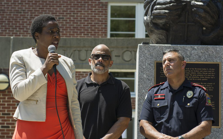 Associate Vice President for Community Equity and Diversity Naomi Thompson speaks during a vigil held at URI.