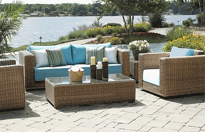 This traditional-looking wicker set is actually made from a more durable resin material.