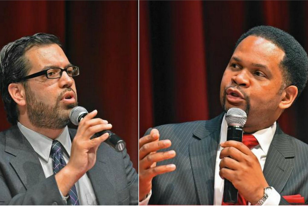 Non-profits controlled by Aurora Mayoral candidate Rick Guzman (left) made 19 late property tax payments since 2007.
