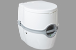 This compact and fully-contained flushing toilet system can come in handy when traveling off the grid.