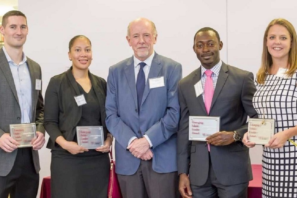 Southern Illinois University Carbondale's College of Business recently honored its 2017 Emerging Saluki Leader award winners. Pictured from left are: Bryan Mullins, Angela Dowell, College of Business Dean Terry Clark, Kendrick Coleman and Darla Krause.