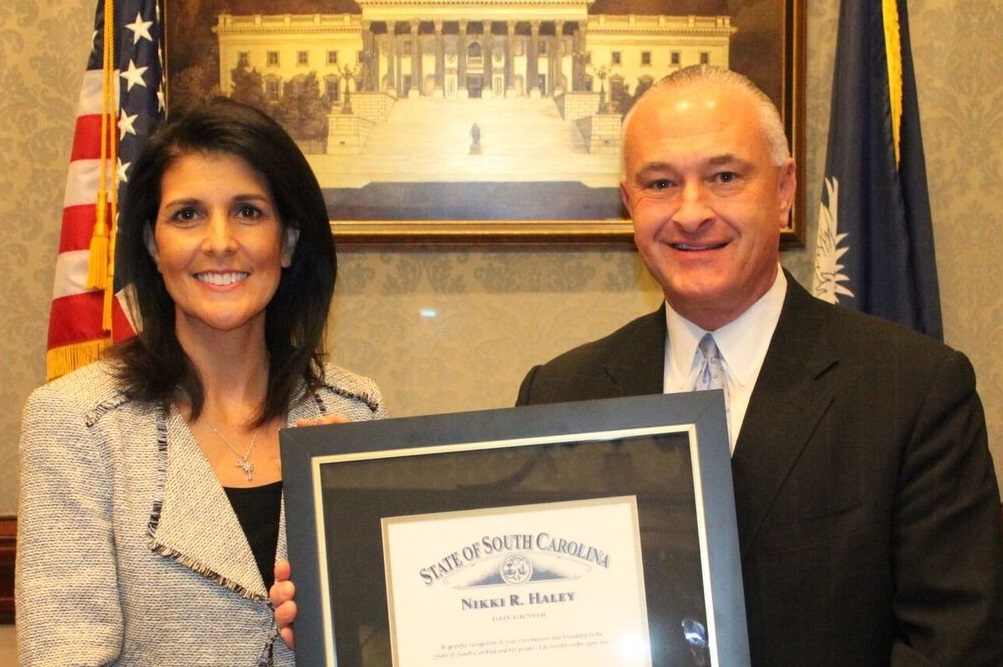 Kenneth Bingham received the award Jan. 11 from Gov. Nikki Haley at the South Carolina Statehouse.