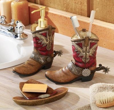 Dress up your bathroom vanity with a three-piece set of cowboy-inspired accessories for $39.99 on ebay.com.