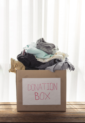 Set a donation box (or two) on the side and fill it with items you no longer need or use.