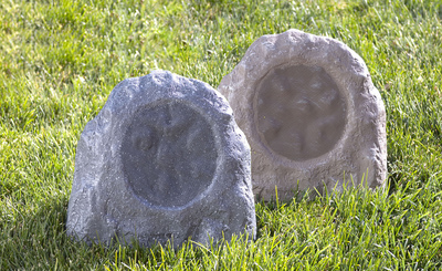 Outdoor speakers include everything from planter to inground and rock speakers.