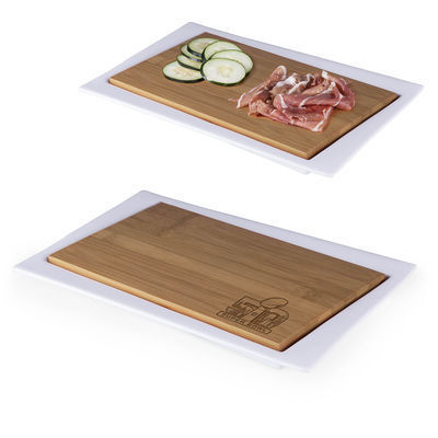 The Super Bowl 50 Enigma Platter is a 2-in-1 platter that works as a serving tray or as a surface for food preparation.