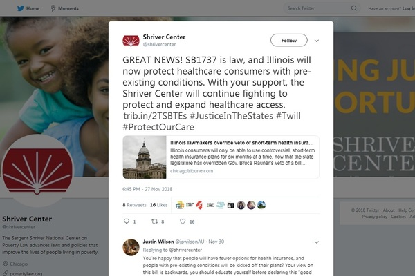 Sargent Shriver National Center on Poverty Law's Nov. 27 Tweet following override of Gov. Bruce Rauner's veto and enrollment of SB1737 as a public act