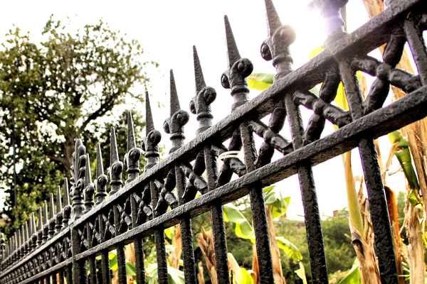 Wrought iron fenciing is immediately recognizable as a stately property enclosure.