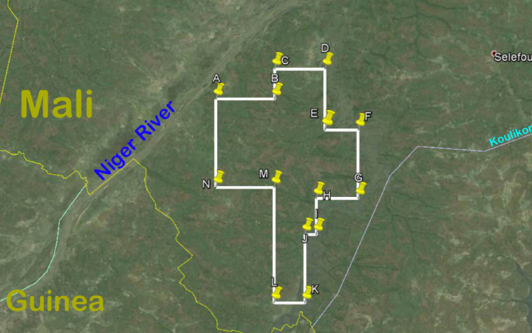 A map showing the Kobada Exploration Concession area