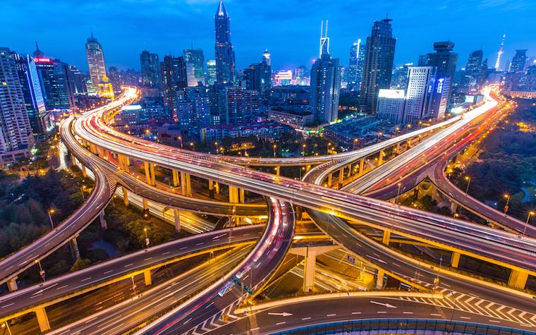 An urban highway interchange