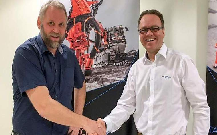 From left Kjell Arild Grønåsm CEO from Qmatec Group ASand Martin Friedl Sales Manager Surface Drills &Tunneling North Europe,Sandvik Construction