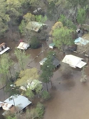 Flooding in Orange, Texas, as seen by Gov. Greg Abbott during a tour of flood-damaged areas March 16.