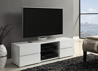 Sleek, industrial designs are a new trend in home entertainment centers and TV consoles.