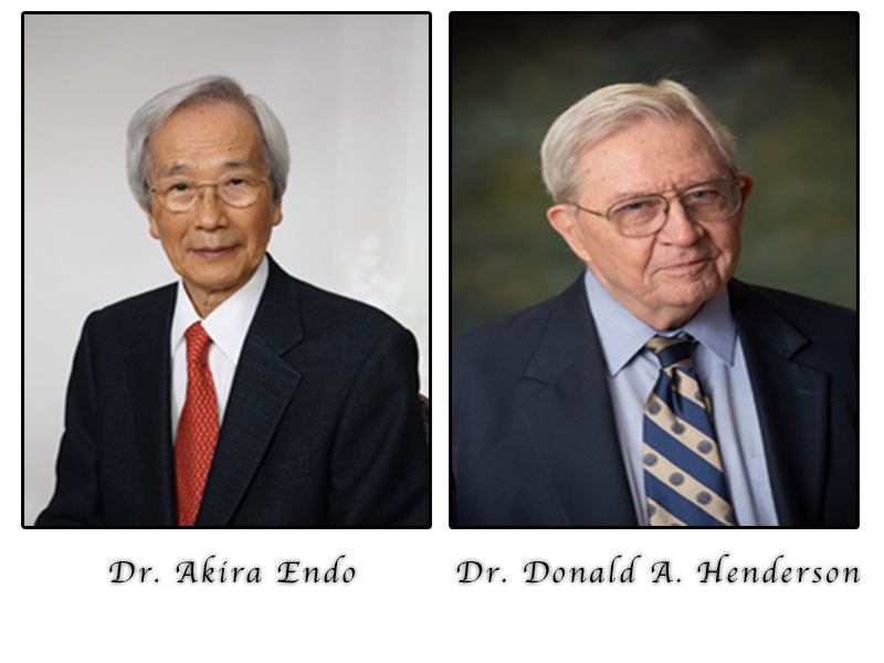 Dr. Akira Endo, left, and Dr. Donald Henderson