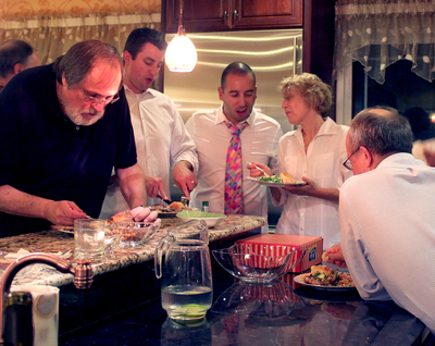 Eating in the kitchen itself always has been a popular option at family gatherings.