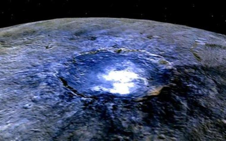 Occatur Crater on Ceres (shown in false color)
