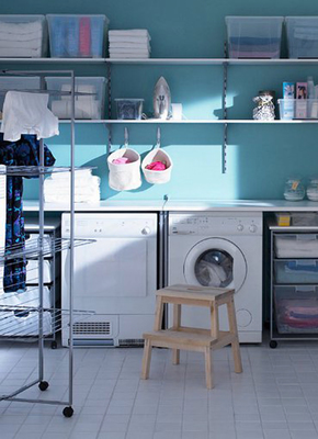 A well-organized laundry room leaves space for other purposes.