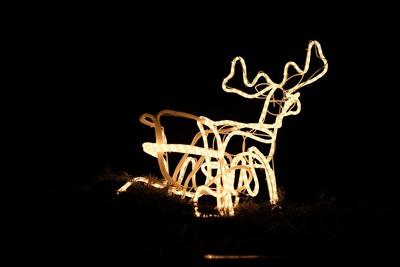 A lighted reindeer decoration
