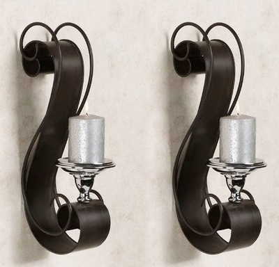 Donovan Scroll Metal Wall Sconce Pair