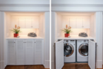 Being able to hide the washer and dryer being doors makes the room multifunctional.