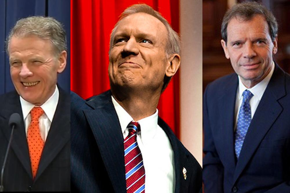 House Leader Michael Madigan (D-Chicago), Gov. Bruce Rauner and Senate President John Cullerton (D-Chicago)