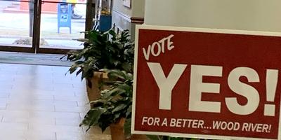 Sign inside Wood River City Hall