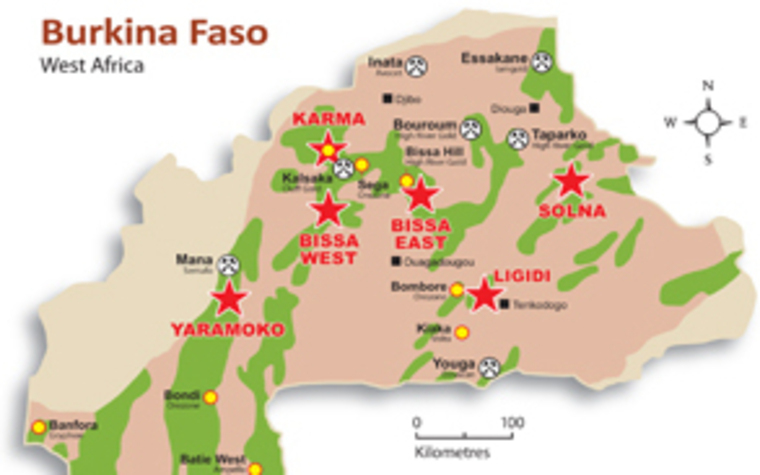 A map of True Gold's activites in Burkina Faso