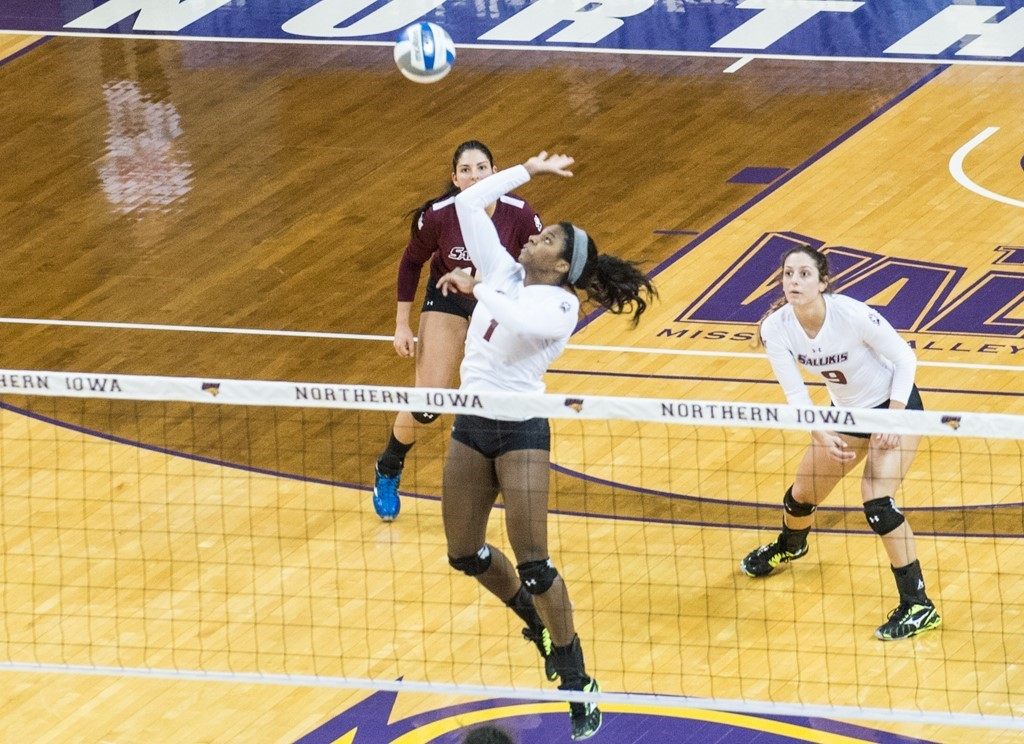 A member of the SIU volleyball team prepares to spike the ball during a game last season.