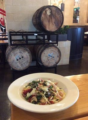 A North by Northwest menu favorite: Linguini, red onions, mushrooms and sun-dried tomatoes with mixed greens.