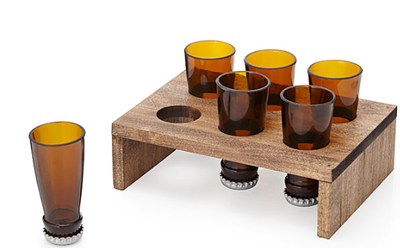 Beer Bottle Shot Glasses and Display Tray