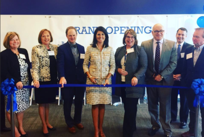 Gov. Nikki Haley (center) marks the Grand Opening of the Lash Group in York County, SC