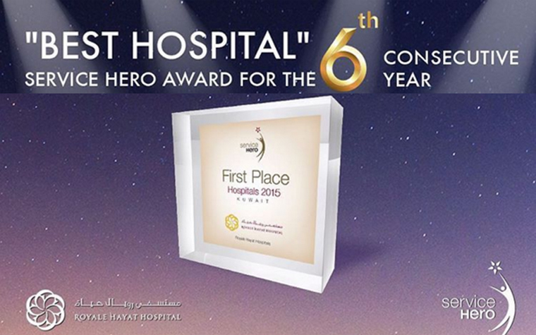Royale Hayat Hospital has earned the Best Hospital Award in Kuwait for the sixth year in a row.