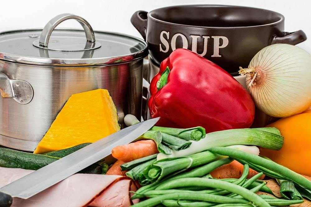 Soup vegetables pot cooking