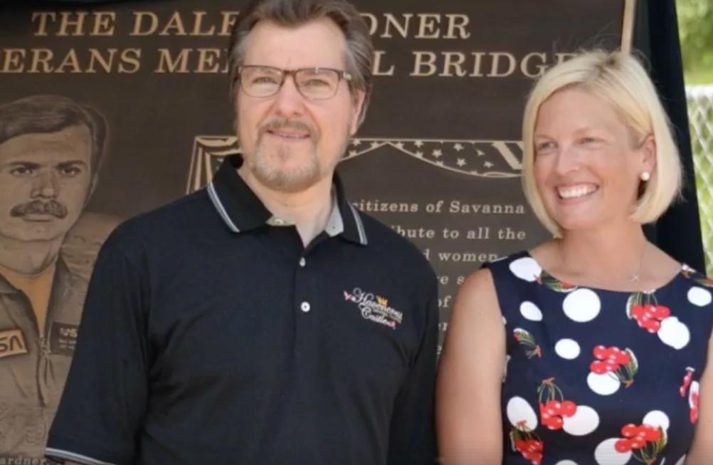 Tony McCombie, right, at the dedication of the Dale Gardner Veterans Memorial Bridge.