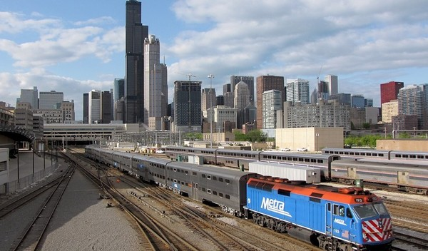 Large metra train in chicago