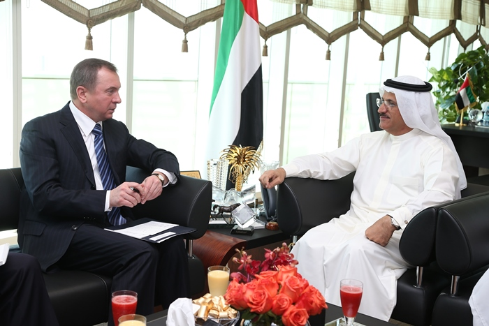 Minister of Foreign Affairs of the Republic of Belarus, Vladimir Makei meets with the Minister of State for Foreign Affairs for the United Arab Emirates, Anwar Gargash.