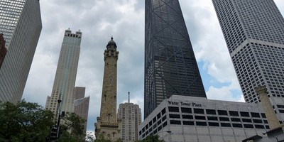 The Four Seasons hotel, second tower from left, rises above Chicago's Magnificent Mile.