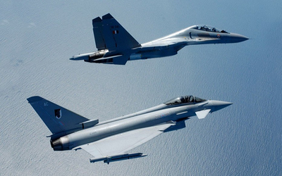 Eurofighter Typhoons during the fourth iteration of Indradhanush, the joint combat exercise between the Indian Air Force and British RAF.