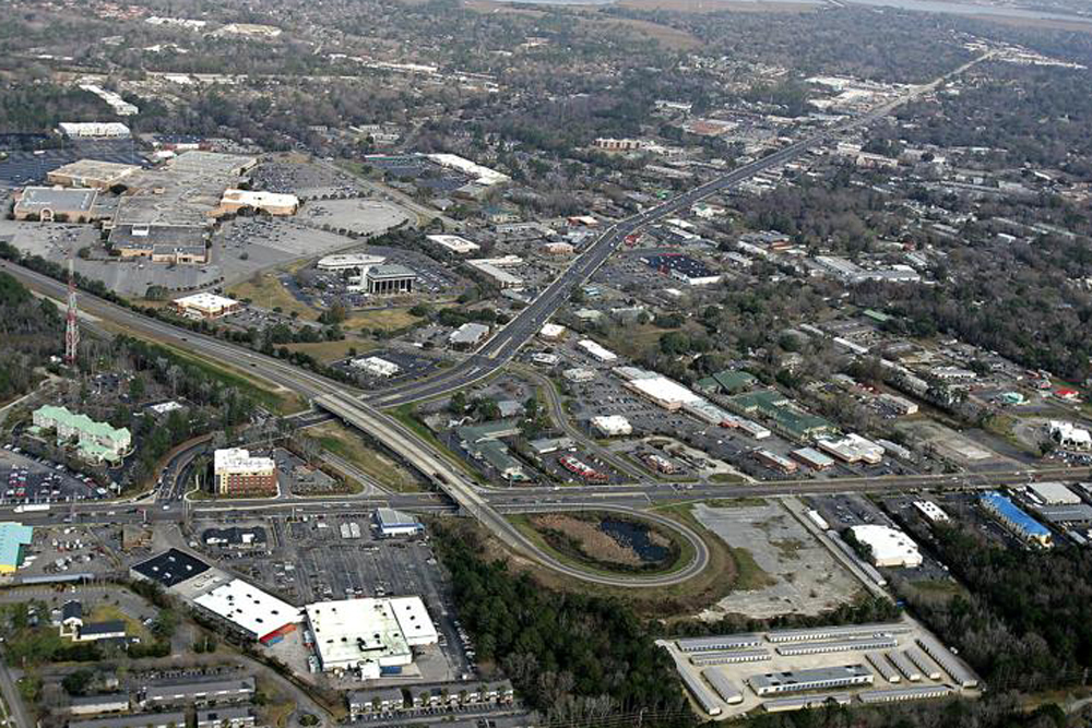 An aerial view of where I-526 ends near Citadel Mall in West Ashley.