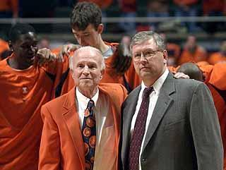 Former Illini coach Lou Henson (left) and former athletic trainer Rod Cardinal