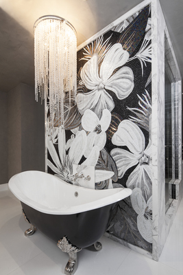 Even a bathroom can be designed with a modern glam look.