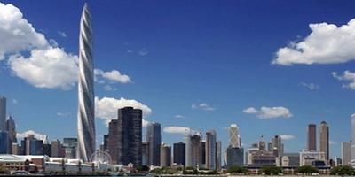 Artist's rendering of proposed Chicago Spire skyscraper against Chicago skyline