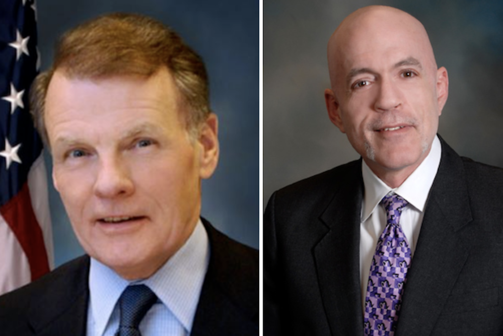Michael Madigan, left, and Rep. Gregory Harris