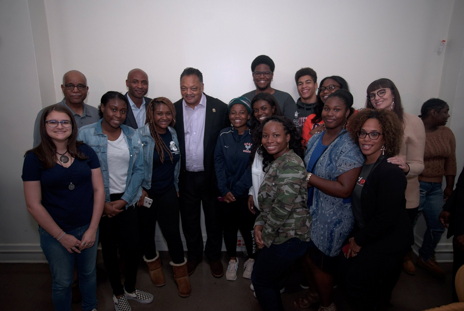 OPRF Principal and OPRF Students Advocating for Equity (SAFE) attend a voter registration rally with activist Jesse Jackson last fall.