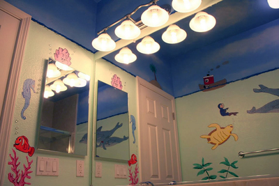 Colorful paint and accessories can be great in a children's bathroom, but avoid permanent changes that children will outgrow.